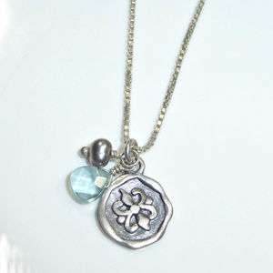 Silpada Charmed I'm Sure Blue Coin Necklace